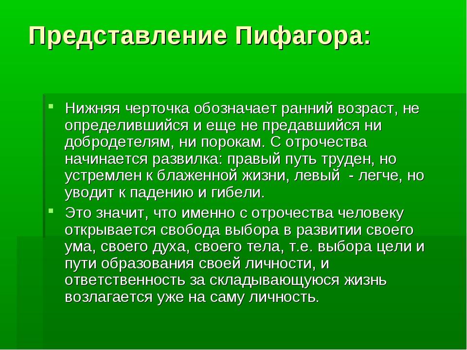 Представление Пифагора: Нижняя черточка обозначает ранний возраст, не определ...