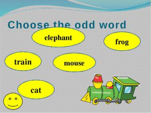 Choose the odd word train elephant mouse cat frog