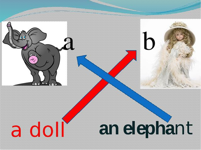 an elephant a doll a b