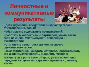 Дети научились представлять характер героев стихотворения, басни; обыгрывать
