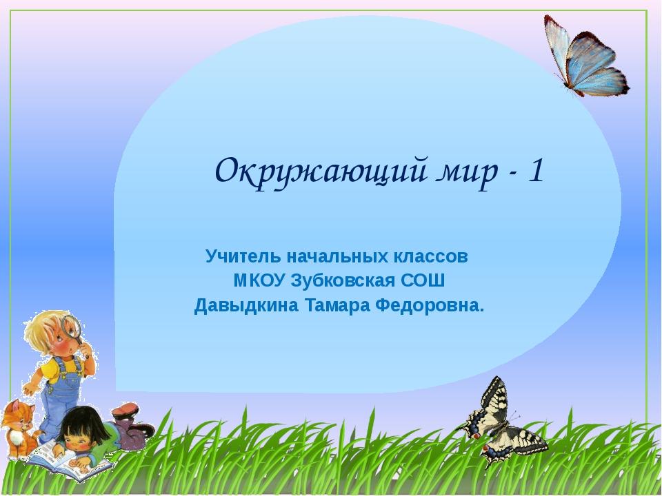 Окружающий мир - 1 Учитель начальных классов МКОУ Зубковская СОШ Давыдкина Та...