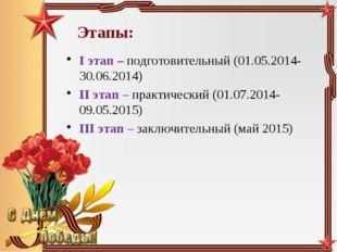 Этапы: I этап – подготовительный (01.05.2014-30.06.2014) II этап – практическ