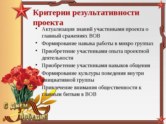 Критерии результативности проекта Актуализация знаний участниками проекта о г...