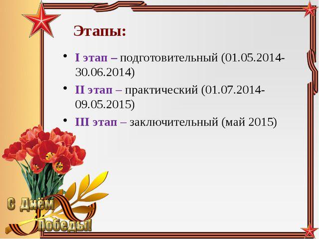 Этапы: I этап – подготовительный (01.05.2014-30.06.2014) II этап – практическ...