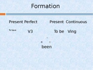 Formation Present Perfect Present Continuous To have V3 To be Ving been → ↘ ↙