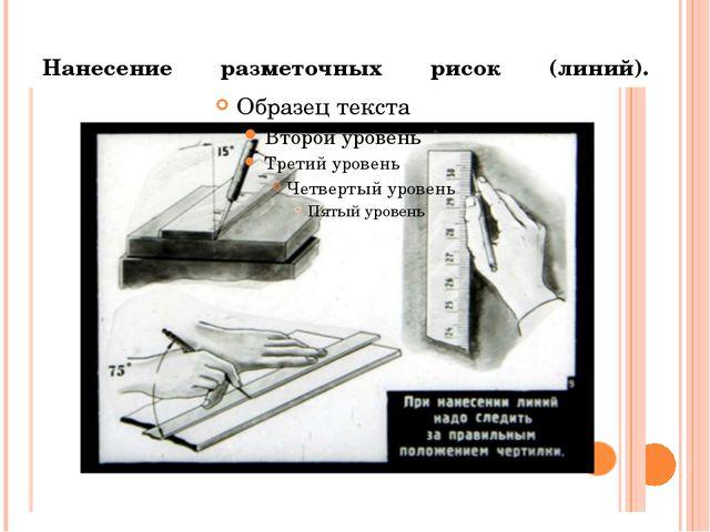 Нанесение разметочных рисок (линий).