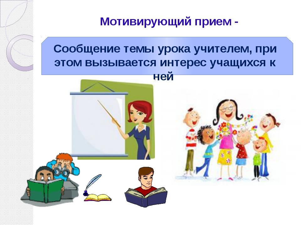 Мотивирующий прием - Сообщение темы урока учителем, при этом вызывается интер...