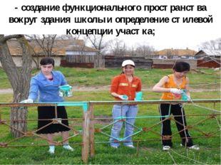 - создание функционального пространства вокруг здания школы и определение сти