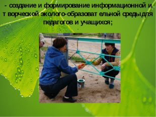 - создание и формирование информационной и творческой эколого-образовательной