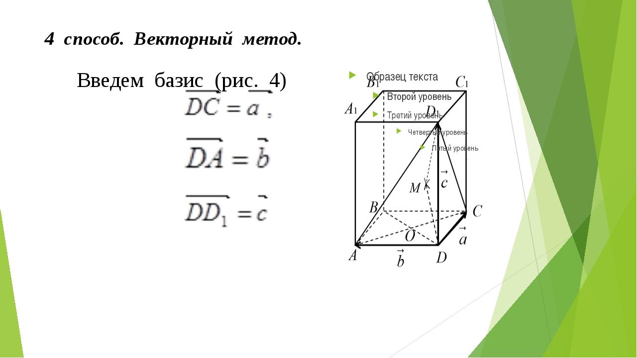 4 способ. Векторный метод. Введем базис (рис. 4)  , .
