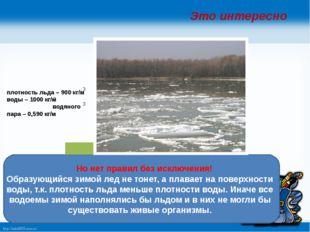 Но нет правил без исключения! Образующийся зимой лед не тонет, а плавает на