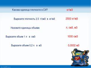 Какова единица плотности в СИ? Выразите плотность 2.5 г/см3 в кг/м3 Назовите