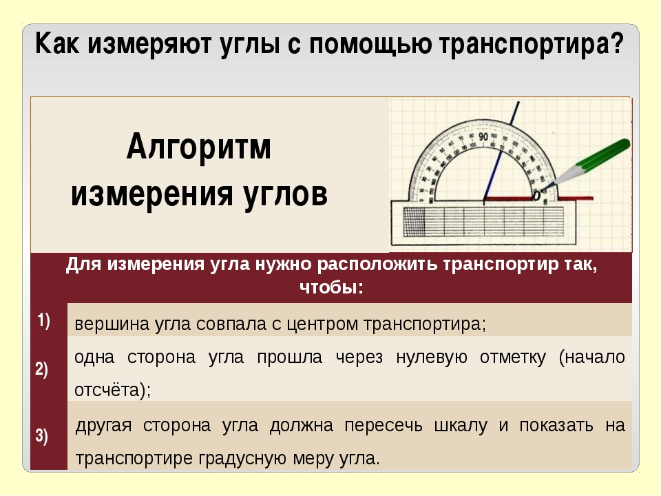 Как измеряют углы с помощью транспортира? Алгоритм измерения углов вершина у...