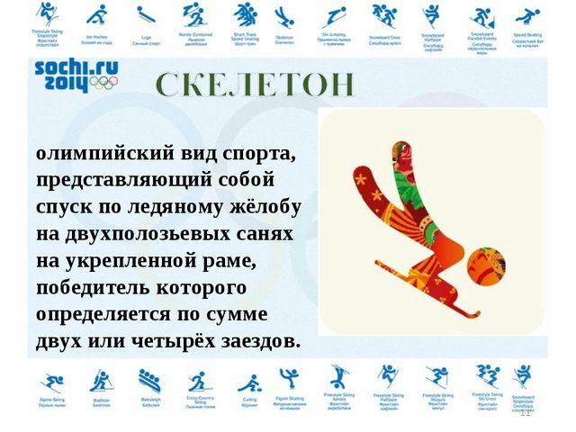Ске́летон — зимний олимпийский вид спорта, представляющий собой спуск по ледя...