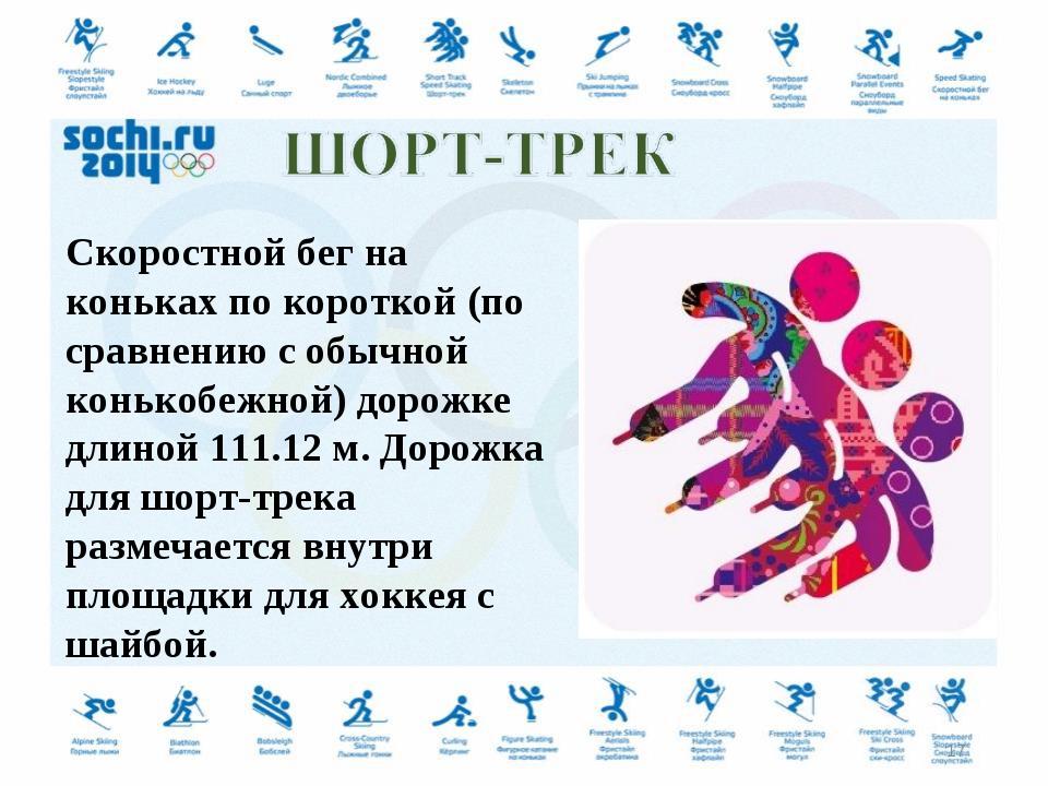 Скоростной бег на коньках по короткой (по сравнению с обычной конькобежной) д...