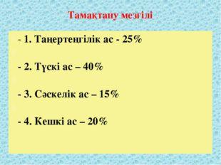 Тамақтану мезгілі - 1. Таңертеңгілік ас - 25% - 2. Түскі ас – 40% - 3. Сәскел