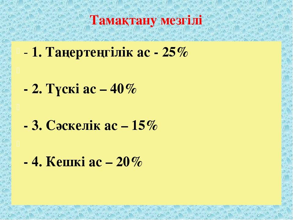 Тамақтану мезгілі - 1. Таңертеңгілік ас - 25% - 2. Түскі ас – 40% - 3. Сәскел...