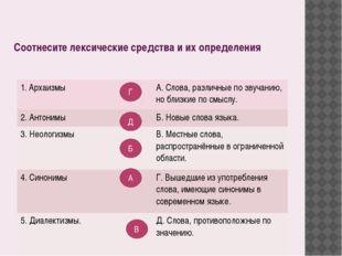 Соотнесите лексические средства и их определения Г Д Б А В 1. Архаизмы А. Сло