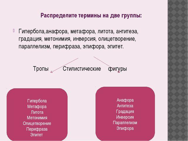 Распределите термины на две группы: Гипербола,анафора, метафора, литота, анти...