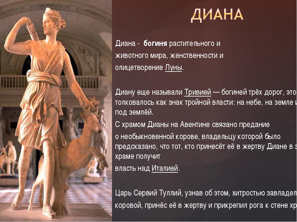 Диана - богинярастительного и животного мира, женственности и олицетворени...