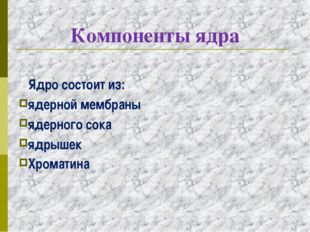 Компоненты ядра Ядро состоит из: ядерной мембраны ядерного сока ядрышек Хрома