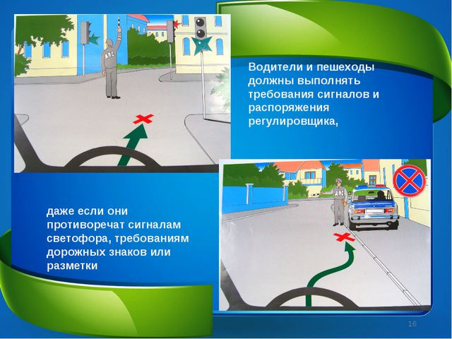 Водители и пешеходы должны выполнять требования сигналов и распоряжения регул...