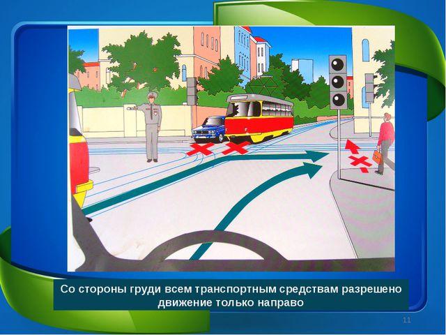 Со стороны груди всем транспортным средствам разрешено движение только направ...