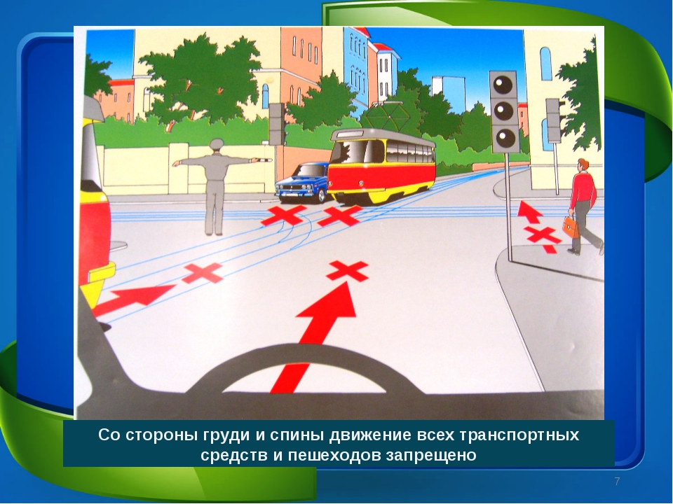 Со стороны груди и спины движение всех транспортных средств и пешеходов запре...