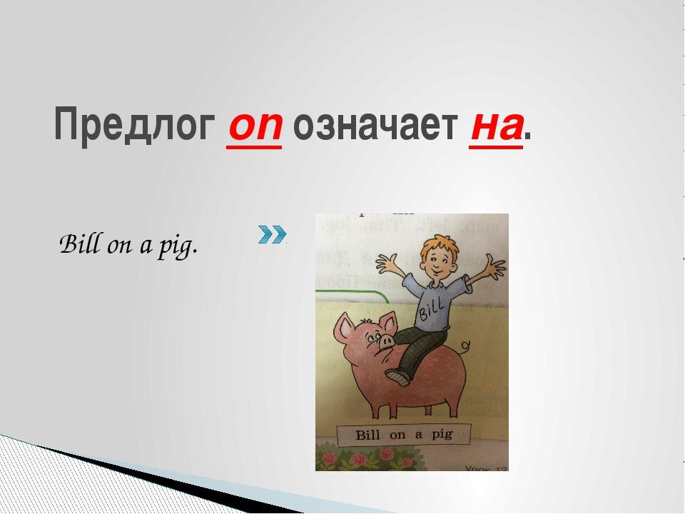 Предлог on означает на. Bill on a pig.