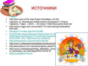 источники http://gov.cap.ru/Info.aspx?type=news&gov_id=431 Гармель, Е. Интерн