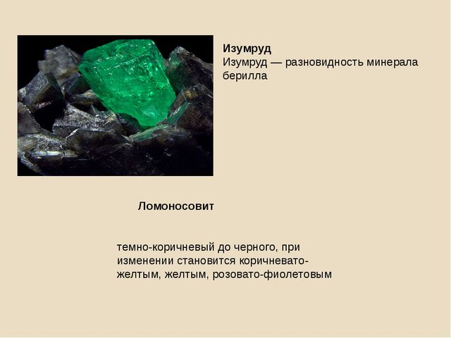 Изумруд Изумруд — разновидность минерала берилла Ломоносовит темно-коричневый...