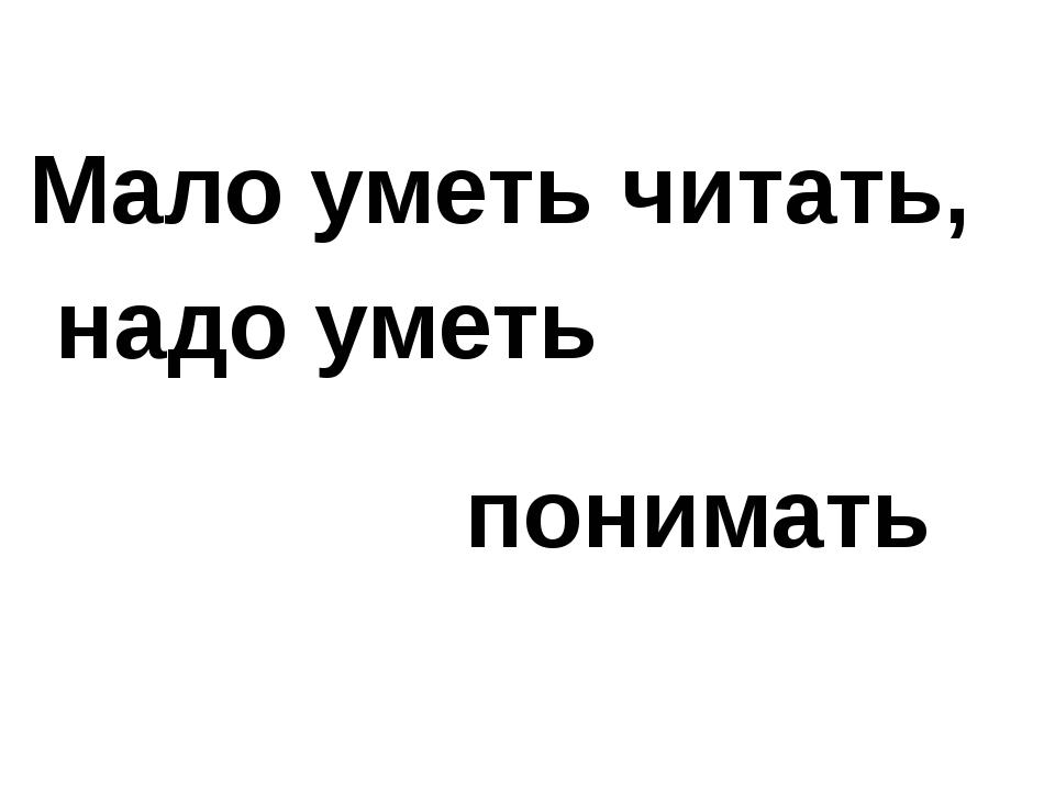 Мало уметь читать, надо уметь понимать