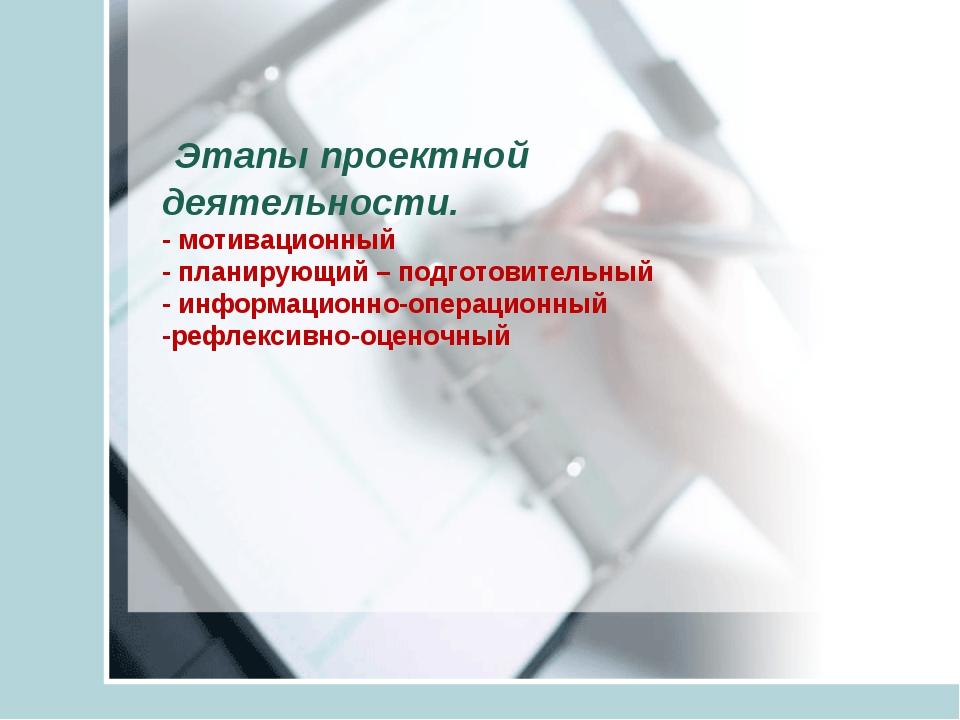 Этапы проектной деятельности. - мотивационный - планирующий – подготовительн...