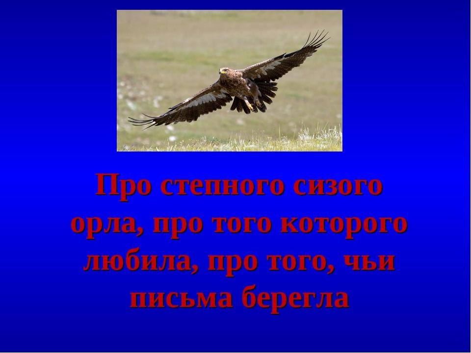 Про степного сизого орла, про того которого любила, про того, чьи письма бере...