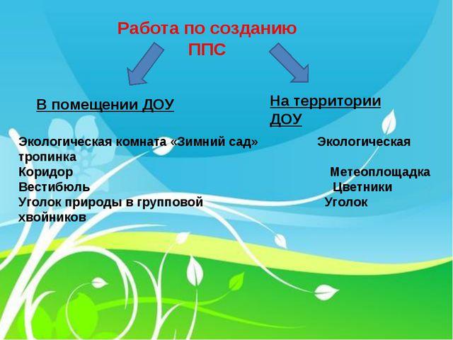 Работа по созданию ППС В помещении ДОУ На территории ДОУ Экологическая комна...