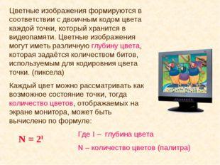 Цветные изображения формируются в соответствии с двоичным кодом цвета каждой