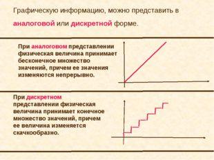 Графическую информацию, можно представить в аналоговой или дискретной форме.