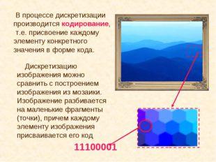 Дискретизацию изображения можно сравнить с построением изображения из мозаик