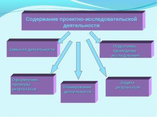 Содержание проектно-исследовательской деятельности Замысел деятельности Подго