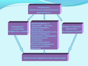 Расширение и углубление предметных знаний Результаты проектно-исследовательск