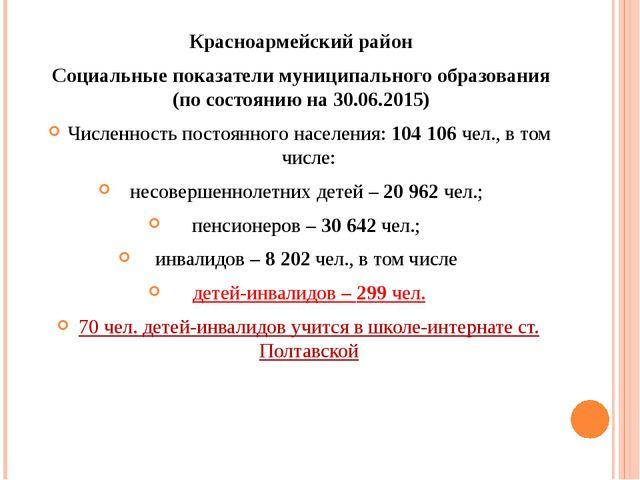 Красноармейский район Социальные показатели муниципального образования (по со...