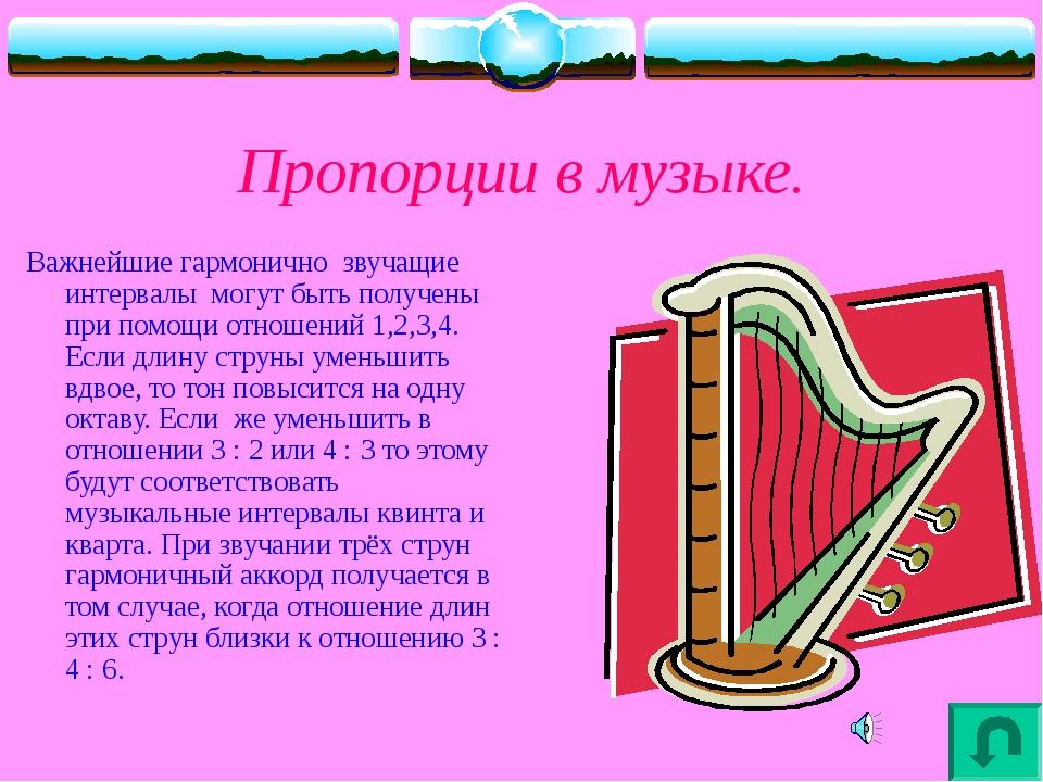 Пропорции в музыке. Важнейшие гармонично звучащие интервалы могут быть получе...