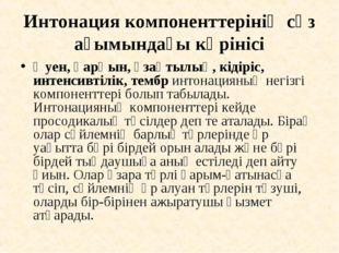 Интонация компоненттерінің сөз ағымындағы көрінісі Әуен, қарқын, ұзақтылық, к