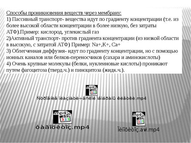 Способы проникновения веществ через мембрану: 1) Пассивный транспорт- вещест...
