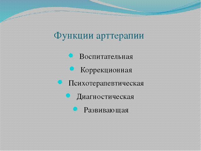 Функции арттерапии Воспитательная Коррекционная Психотерапевтическая Диагност...