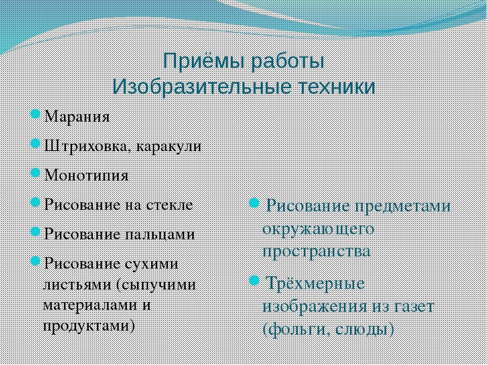 Приёмы работы Изобразительные техники Марания Штриховка, каракули Монотипия Р...