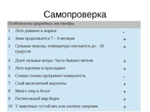 Самопроверка Особенности природных зон тундры 1 Лето длинное и жаркое - 2 Зи