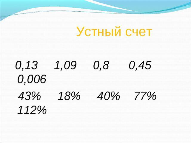 Устный счет 0,13 1,09 0,8 0,45 0,006 43% 18% 40% 77% 112%
