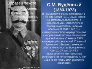 С.М. Будённый (1883-1973) В Гражданскую войну командовал 1-й Конной Армии (19