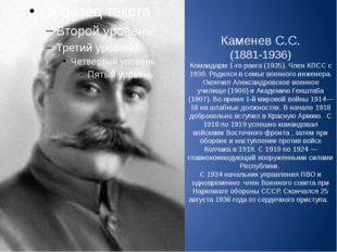 Каменев С.С. (1881-1936) Командарм 1-го ранга (1935). Член КПСС с 1930. Родил